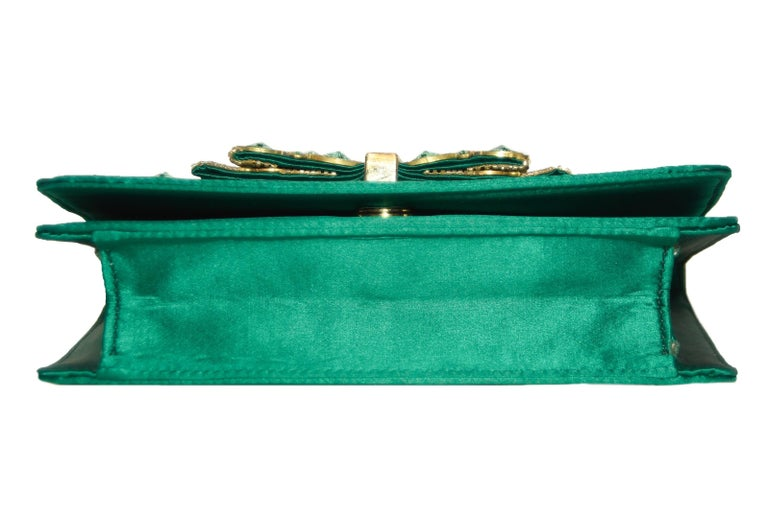 Blue Roberto Cavalli Green Satin Gold Tone & Green Beaded Bow Clutch For Sale