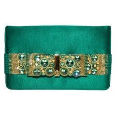 Roberto Cavalli Green Satin Gold Tone & Green Beaded Bow Clutch