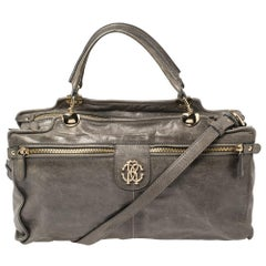 Roberto Cavalli Grey Leather Satchel