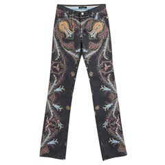 Roberto Cavalli Grey Printed Flared Bottom Jeans XS