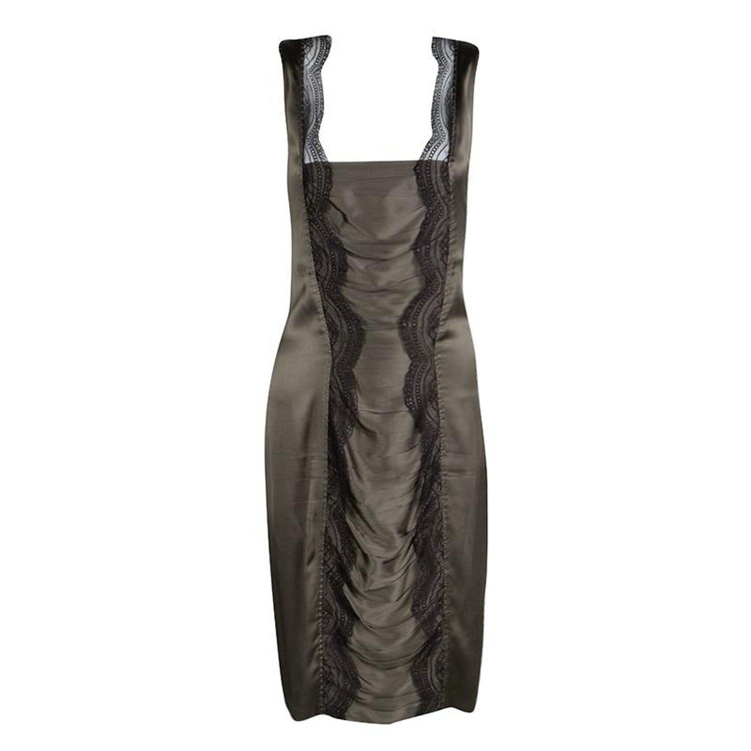 97be8b647c Roberto Cavalli Grey Scallop Lace Panel Detail Satin Ruched Sleeveless Dress  M For Sale at 1stdibs