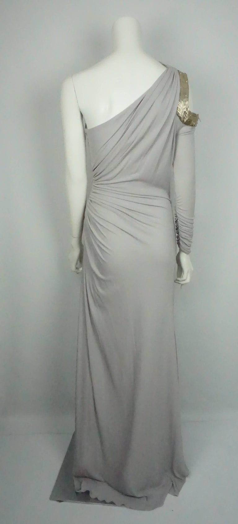 Gray Roberto Cavalli Grey Silk Jersey One Shoulder Beaded Gown - 42 For Sale