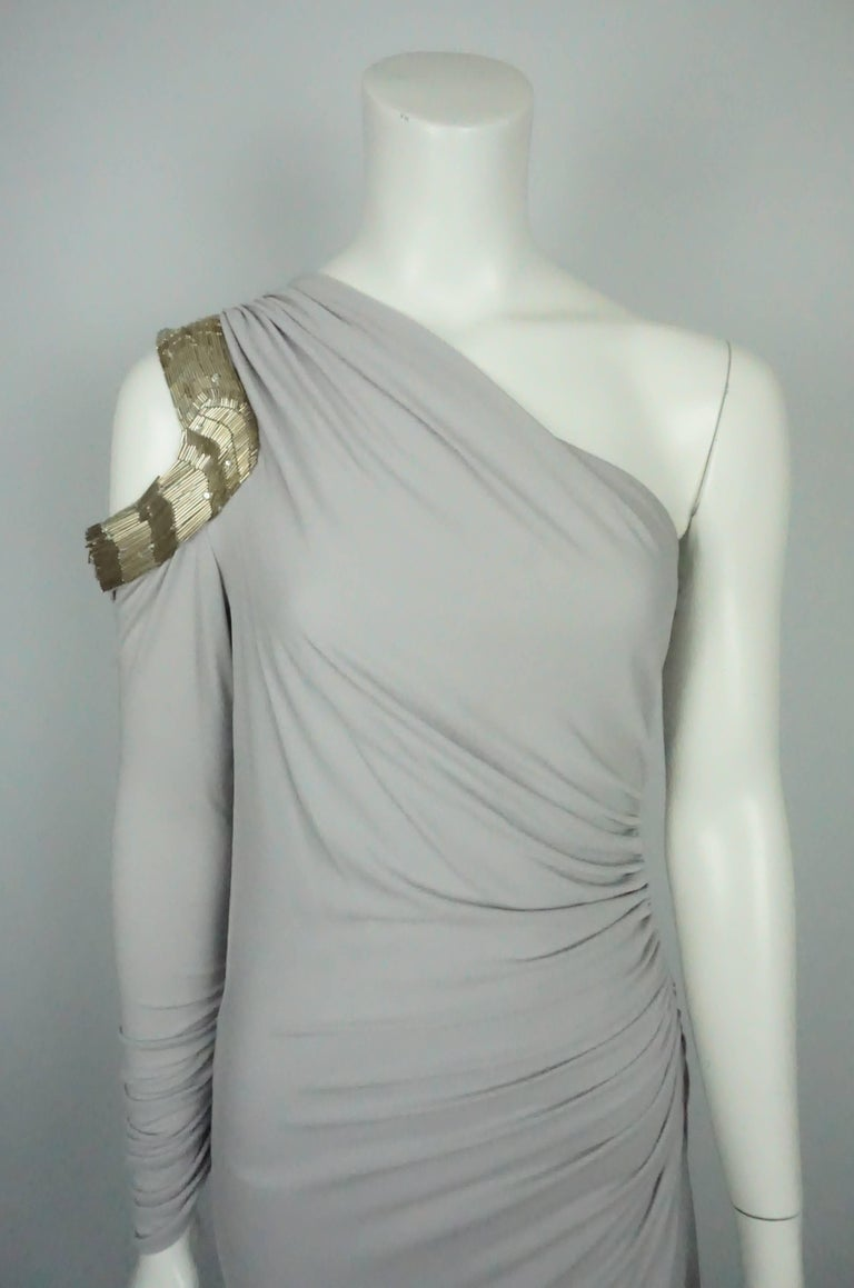 Women's Roberto Cavalli Grey Silk Jersey One Shoulder Beaded Gown - 42 For Sale