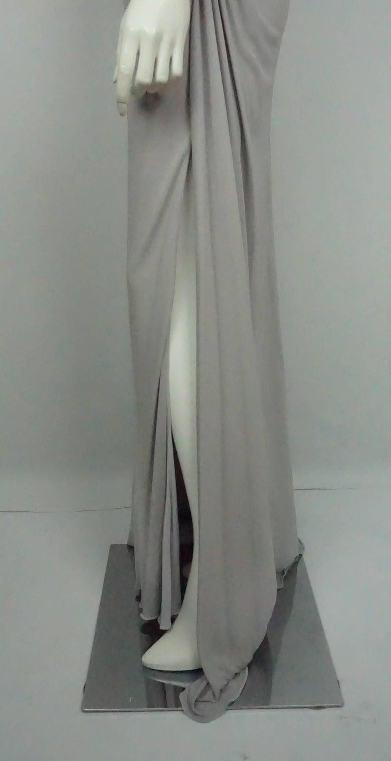 Roberto Cavalli Grey Silk Jersey One Shoulder Beaded Gown - 42 For Sale 1