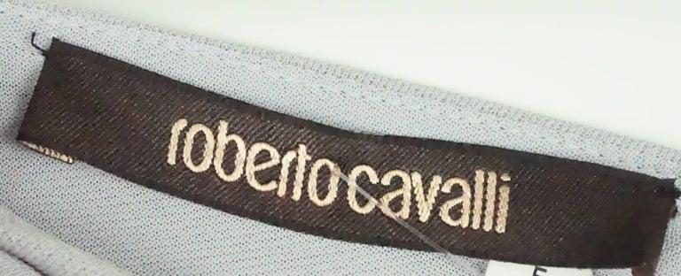 Roberto Cavalli Grey Silk Jersey One Shoulder Beaded Gown - 42 For Sale 2