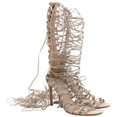Roberto Cavalli Grey Strappy Lace-Up Leather Heels 41