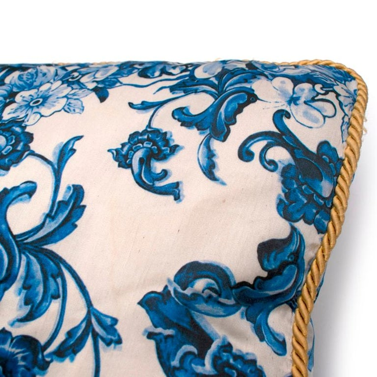 Women's Roberto Cavalli Home Blue Silk Tile Print Set of 2 Cushions For Sale