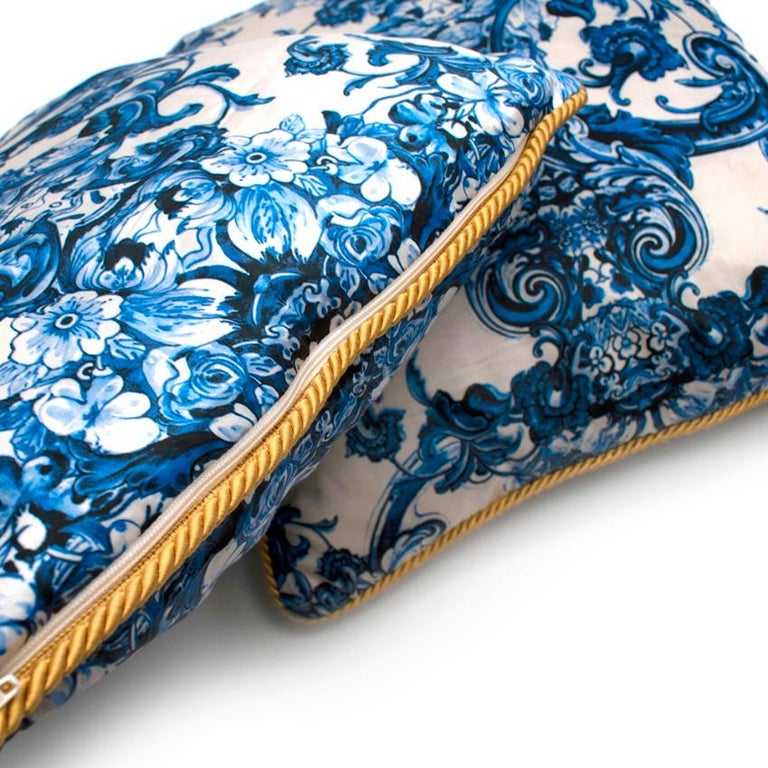Roberto Cavalli Home Blue Silk Tile Print Set of 2 Cushions For Sale 4