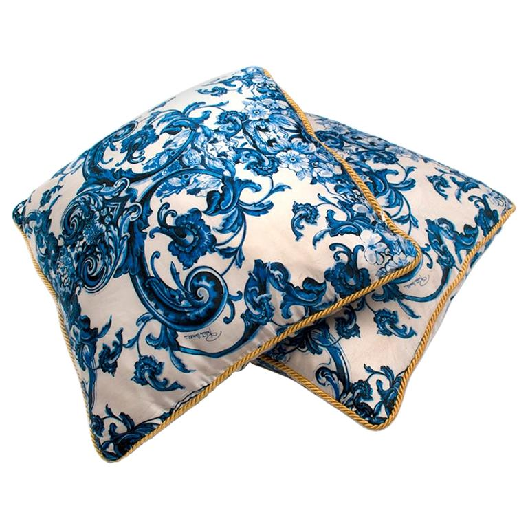 Roberto Cavalli Home Blue Silk Tile Print Set of 2 Cushions For Sale