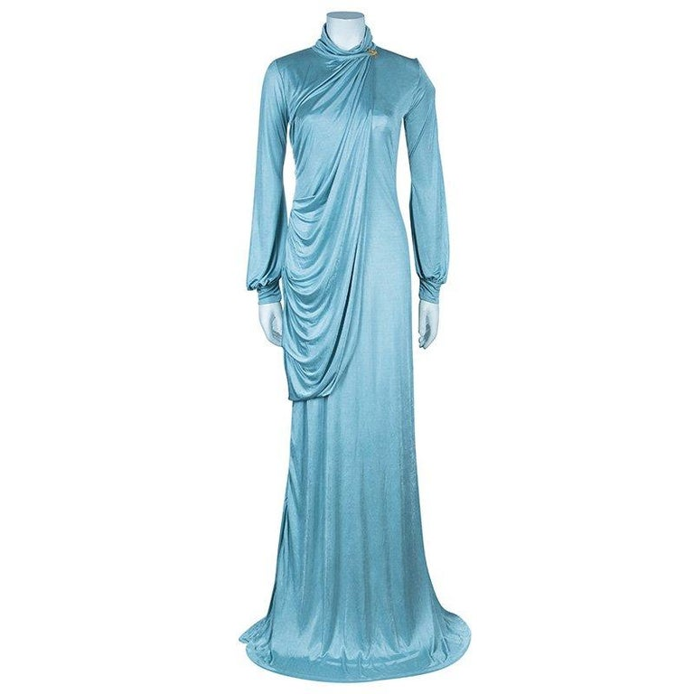 Roberto Cavalli Ice Blue Jersey Draped Gown L In Excellent Condition For Sale In Dubai, AE