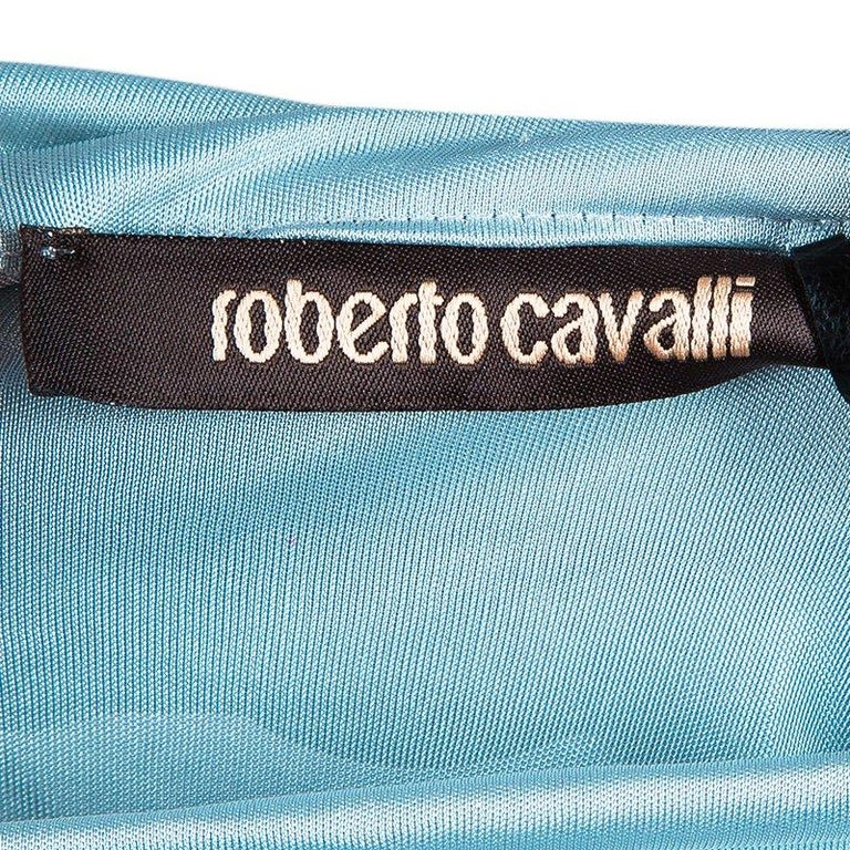 Roberto Cavalli Ice Blue Jersey Draped Gown L For Sale 1