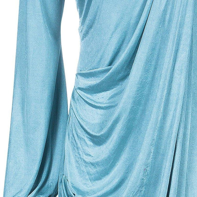 Roberto Cavalli Ice Blue Jersey Draped Gown L For Sale 3