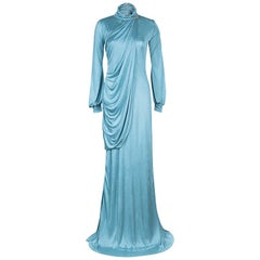 Roberto Cavalli Ice Blue Jersey Draped Gown L