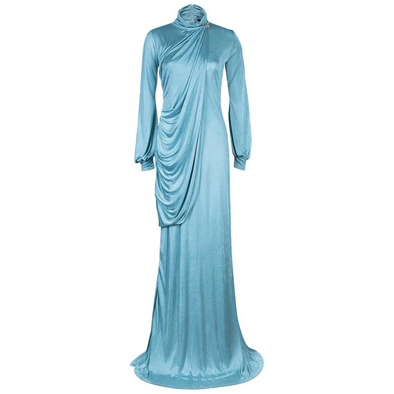 Roberto Cavalli Ice Blue Jersey Draped Gown L For Sale
