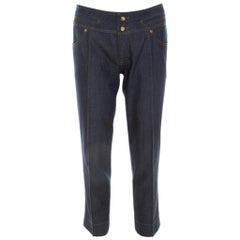 Roberto Cavalli Indigo Cotton Twill Denim Cropped Jeans M