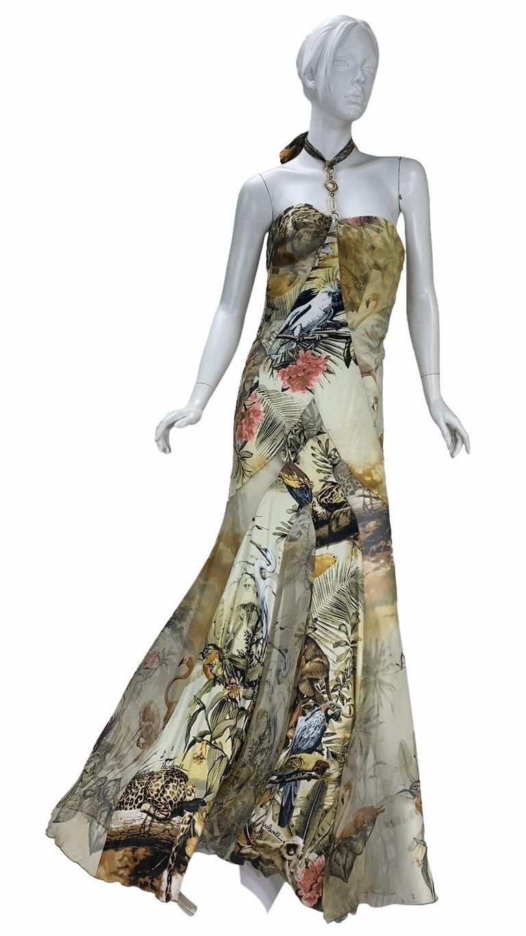 Roberto Cavalli Class Jungle Print Silk Gown  IT Size 42  Incredible print  Combination of smooth silk with semi sheer chiffon  Inner corset Lining Neck embellishment  Excellent condition