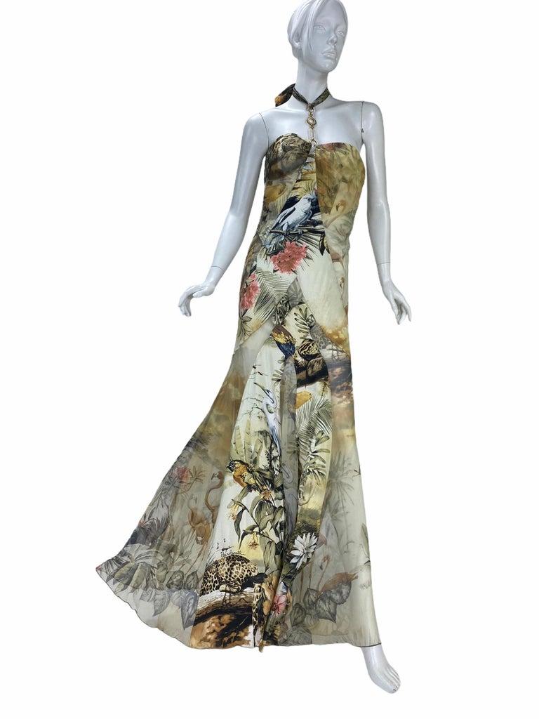 Gray Roberto Cavalli Jungle Print Silk Gown For Sale