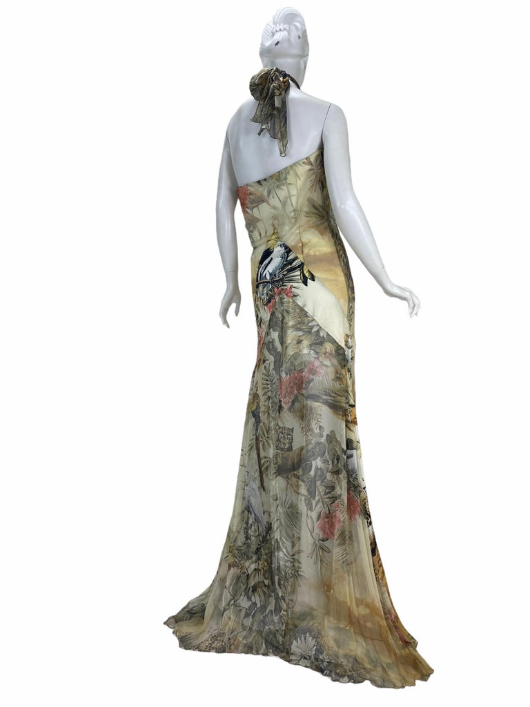 Roberto Cavalli Jungle Print Silk Gown In Excellent Condition For Sale In Montgomery, TX