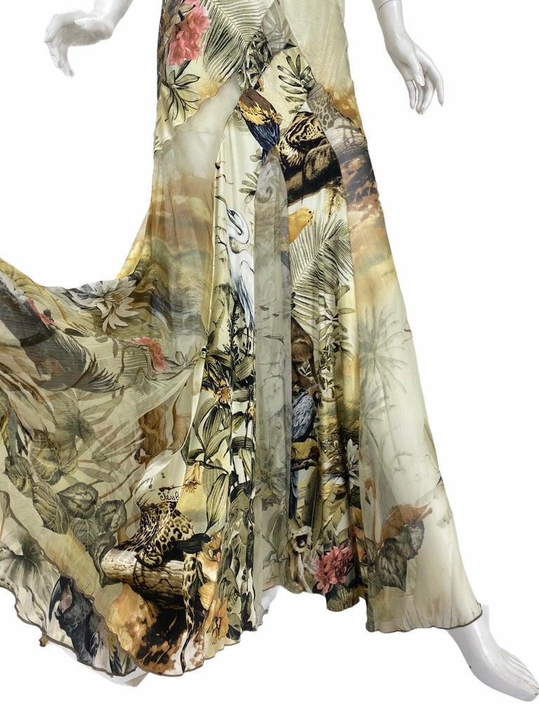 Women's Roberto Cavalli Jungle Print Silk Gown For Sale