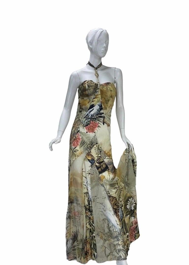 Roberto Cavalli Jungle Print Silk Gown For Sale 3