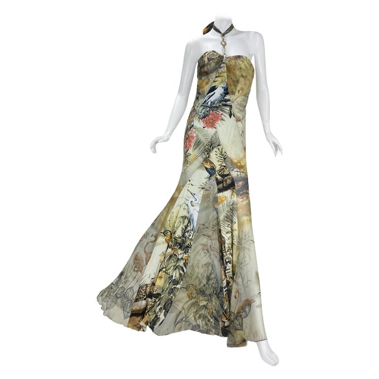 Roberto Cavalli Jungle Print Silk Gown For Sale