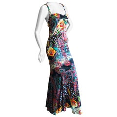 Roberto Cavalli Just Cavalli Fishtail Mermaid Racer Back Evening Dress Size 46