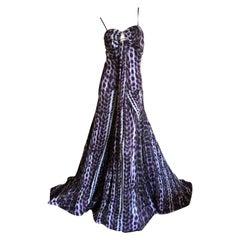 Roberto Cavalli Just Cavalli Leopard Print Silk Evening Gown Long Weighted Hem