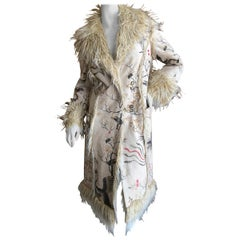 Roberto Cavalli Just Cavalli Rich Hippie Faux Fur Trim Shearling Reversible Coat