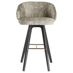 Key West Bar Stool in Wood and Fabric by Roberto Cavalli Home Interiors