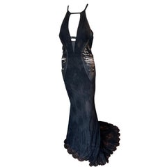 Roberto Cavalli Leather Cutout Fringe Accents Open Back Black Evening Dress Gown
