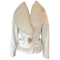 Roberto Cavalli Leather Fur Trimmed Embellished Logo Belt White Jacket Coat
