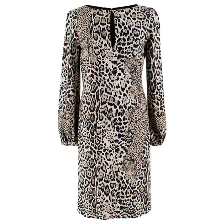 Roberto Cavalli Leopard Face Print Dress - Size US 4