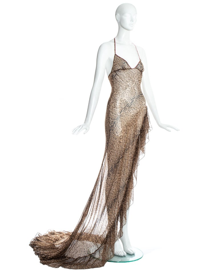Gray Roberto Cavalli leopard print silk chiffon evening dress with high leg split.