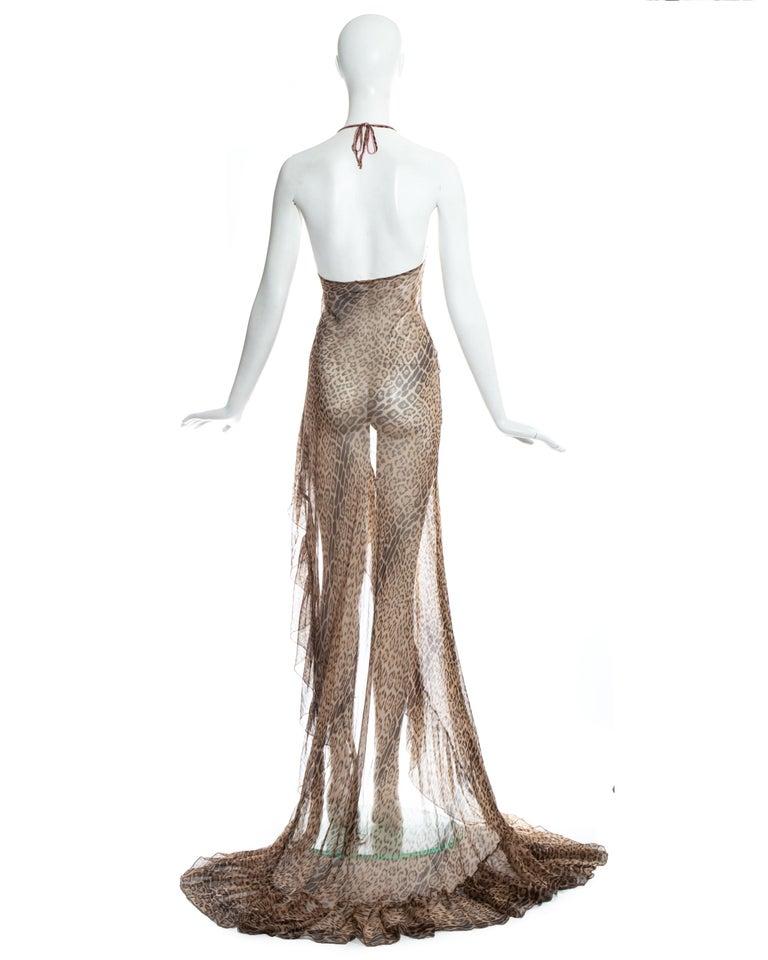Roberto Cavalli leopard print silk chiffon evening dress with high leg split. 2