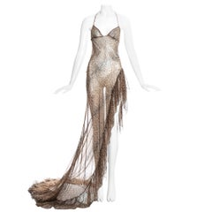 Roberto Cavalli leopard print silk chiffon evening dress with high leg split.