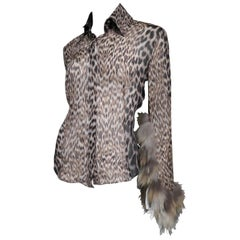 Roberto Cavalli Leopard Silk Shirt with Fur Trim Sleeves