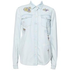 Roberto Cavalli Light Blue Distressed Denim Patch Detail Shirt S