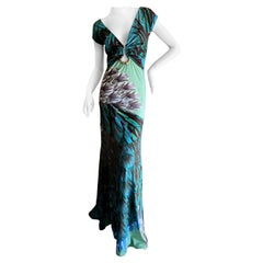 Roberto Cavalli Low Cut Feather Pattern Long Evening Dress Size 46