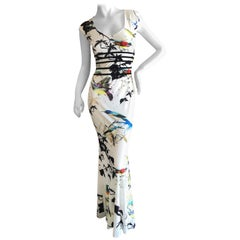 Roberto Cavalli Low Cut Ivory Sleeveless Dress with Bird and Insect Print