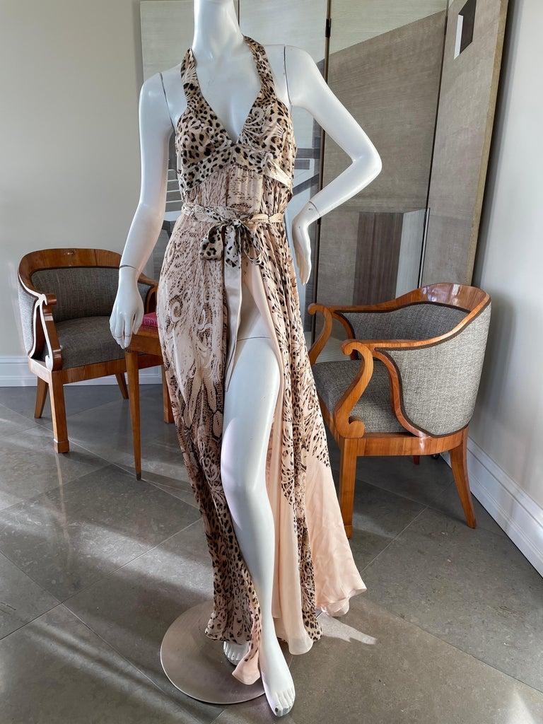 Gray  Roberto Cavalli Low Cut Leopard Print Silk Wrap Dress