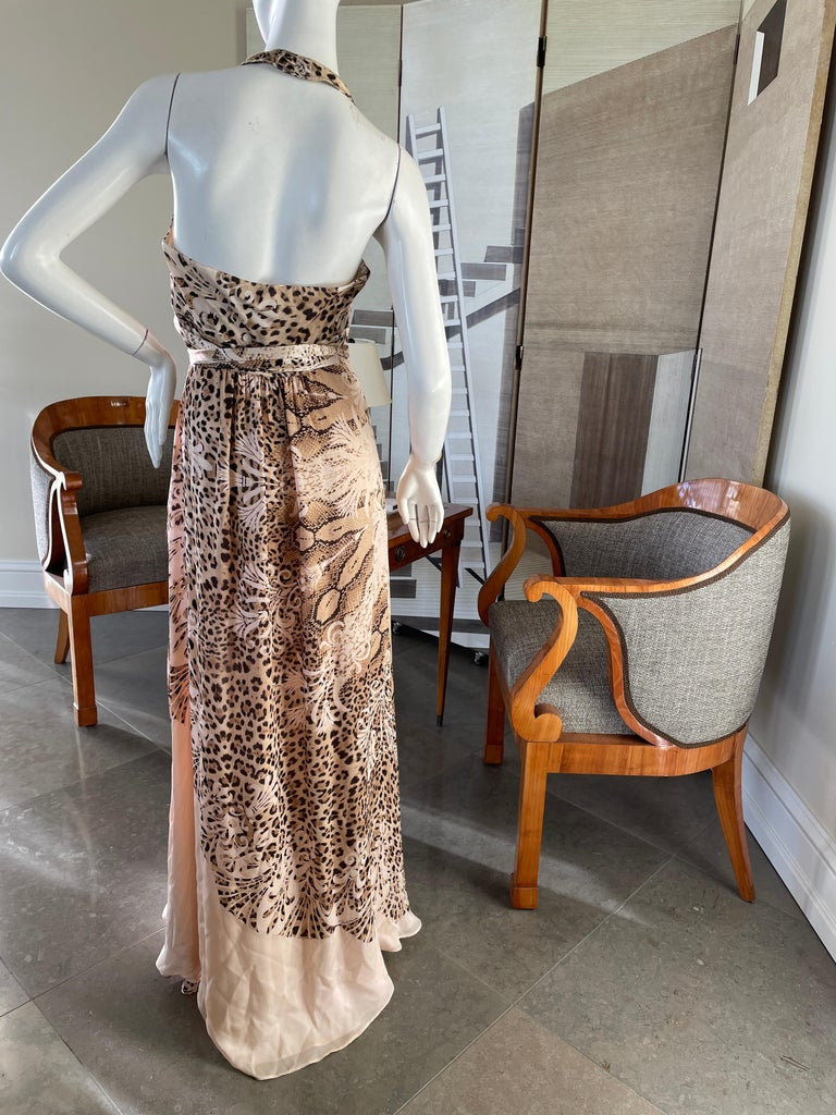 Roberto Cavalli Low Cut Leopard Print Silk Wrap Dress  In Excellent Condition In San Francisco, CA