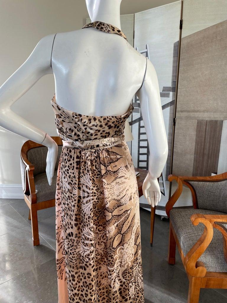 Women's  Roberto Cavalli Low Cut Leopard Print Silk Wrap Dress