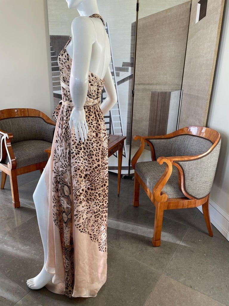 Roberto Cavalli Low Cut Leopard Print Silk Wrap Dress  1