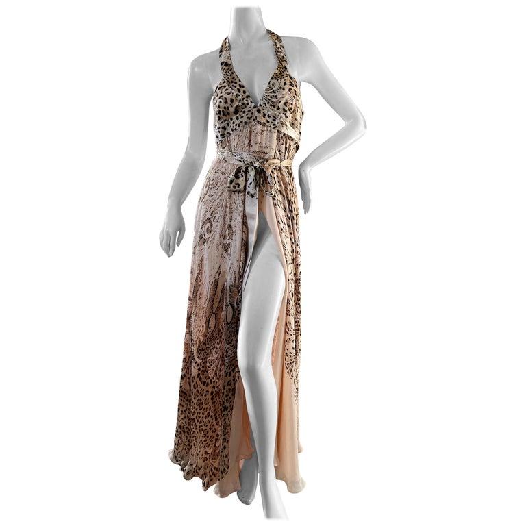 Roberto Cavalli Low Cut Leopard Print Silk Wrap Dress