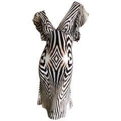 Roberto Cavalli Low Cut Vintage Zebra Stripe Cocktail Dress