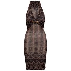 Roberto Cavalli Mauve & Black Snakeskin Print Halter Dress