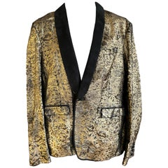 Roberto Cavalli Mens Gold Ponyskin Leather Jacket w Suede Lapels NWT $7775