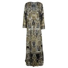 Roberto Cavalli Metallic Print Sheer Silk Chiffon Slit Detail Maxi Dress L