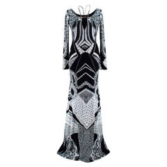 Roberto Cavalli Monochrome Printed Embellished Gown - Size US 6