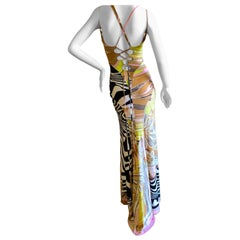 Roberto Cavalli  Multi Animal Pattern Print Dress with Corset Lace Details Small